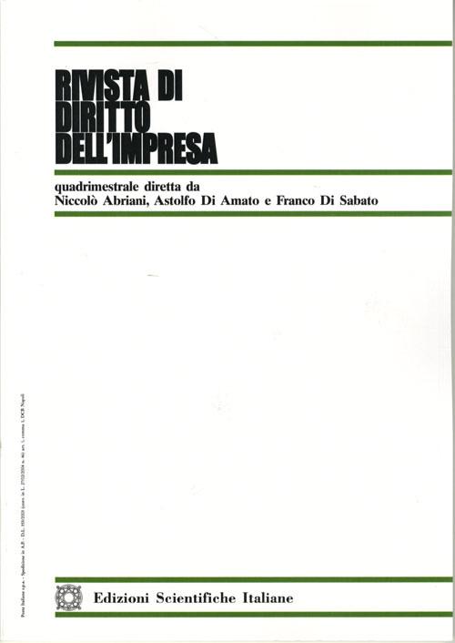 Rivista di Diritto dell'Impresa 2001